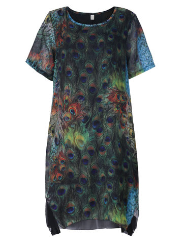 Women Peacock Printed Fake Two-piece High Low Dress
