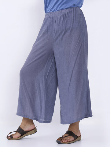 O-NEWE Loose Women Solid Elastic Waist Pockets Wide Leg Pants