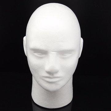 White Foam Mannequin Head Male Styrofoam Stand Wig Hair Glasses Display Model