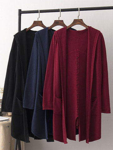 Pure Color Back Split Knitted Cardigans