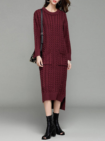 Casual Knitting Irregular Pockets Long Sleeve O-neck Women Dresses