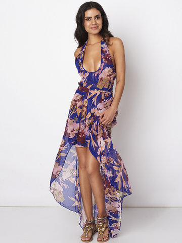 Gracila Women Halter Backless Sexy Floral Printed Chiffon Long Maxi Dresses