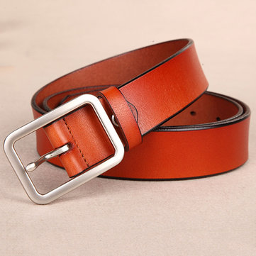 110CM Women Second Layer Of Leather Belt Pin Buckle Solid Casual Waistband