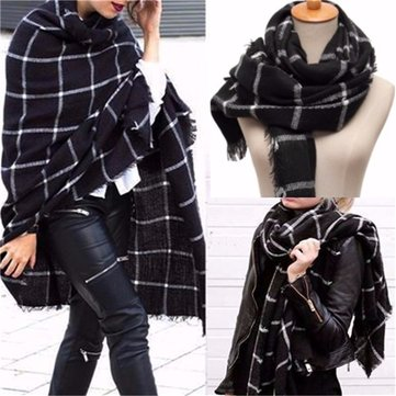 Women Warm Large Tartan Check Plaid Scarf Shawl Blanket Wraps Stole