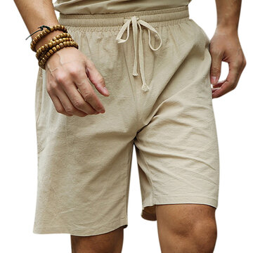Mens Summer Cotton Linen Drawstring Solid Color Knee Length Casual Beach Shorts
