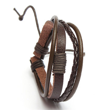 Multilayer Woven Cow Leather Wristband Bracelet