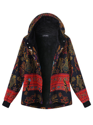 O-NEWE Casual Printing Hooded Thick Coat For Women