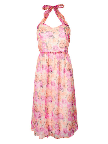 Sexy Women Floral Printed Halter Sleeveless Boho Chiffon Dress