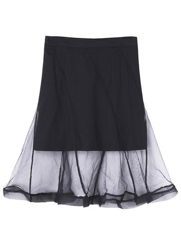 Layer Organza Stitching Solid Women Casual A Line Skirt