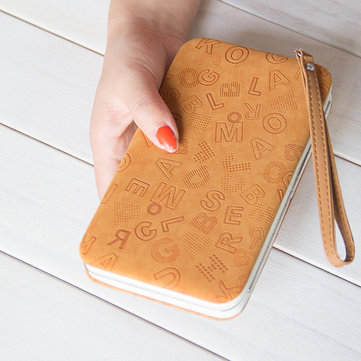 Women Embossed Letters PU Phone Wallet Purse Phone Case For Iphone 6 Xiaomi Redmi Samsung