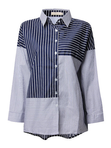 O-Newe Plus Size Stripe Color Contrast Long Sleeve Lapel Shirt For Women