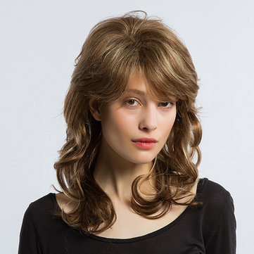 Medium Length Curly Wave Human Hair Wig