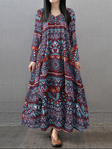 Gracila Ethnic Geometric Print Long Sleeve Women Maxi Dresses