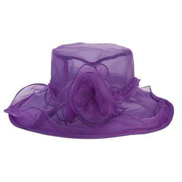 Women Ladies Church Net Flower Wide Brim Beach Hat Elegant Wedding Derby Cap
