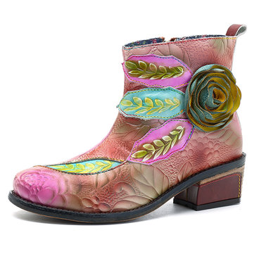 SOCOFY New Printing Handmade Flower Gradient Color Leather Boots