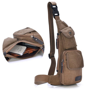 Men Outdoor Casual Canvas Chest Bag Sport Crossbody Bag