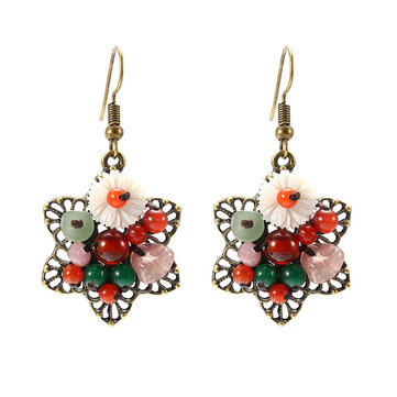 Ethnic Retro Earrings Agate Flower Tassel Earrings