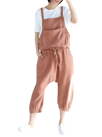 Casual Pure Color Strap Pocket Jumpsuits For Women