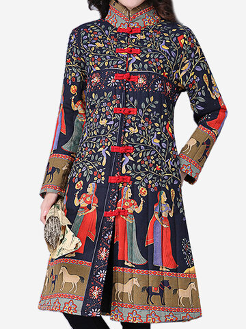 Gracila Ethnic Women Long Sleeve Printed Frog Button Stand Collar Coats