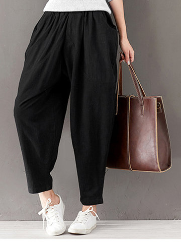 Casual Women Solid Elastic Waist Pockets Pants
