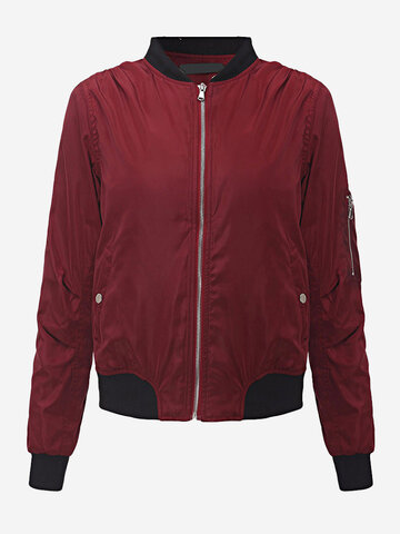 Women Casual Stand Collar Pure Color Zipper Jacket