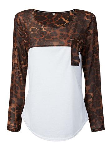 Женская футболка с длинным рукавом Leopard Pocket Chiffon Patchwork