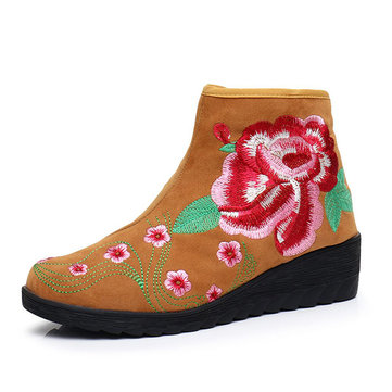 Flower Embroidered Wedges Folkways Ankle Boots