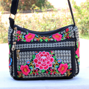 National Style Flower Pattern Crossbody Bag