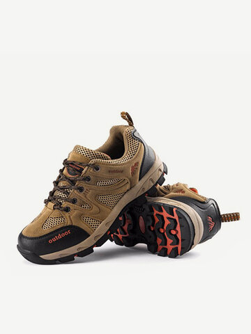 Men Women Lovers Suede Mesh Breathable Lace Up Ourdoor Sport Hiking Shoes