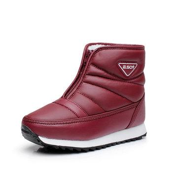 Pure Color Platform Front Zipper Snow Boots
