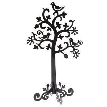 Metal Tree Bird Jewelry Display Stand Holder
