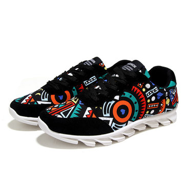 Men Graffiti Pattern Colorful Canvas Korean Style Lace Up Sport Casual Shoes
