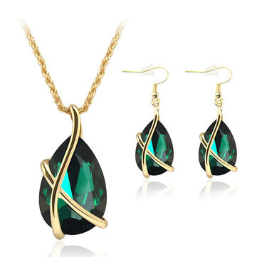 Inlaid Crystal Necklace Earrings Jewelry Set