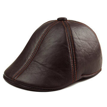 Men's Solid Color Sheepskin Genuine Leather Beret Caps Casual Warm With Ear Flaps Cabbie Golf Hat