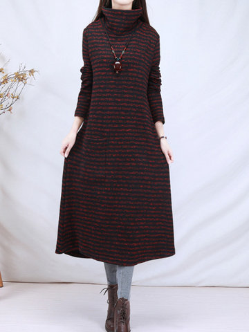 Casual Striped Turtleneck Women Long Knitted Dresses
