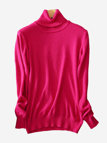 Women High Collar Pure Color Long Sleeve Bottoming Sweaters