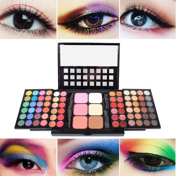 78 Colors Makeup Eye Shadow Palette Colorful Eyeshadow Cosmetics Makeup Tool Kit With 8 Brushes