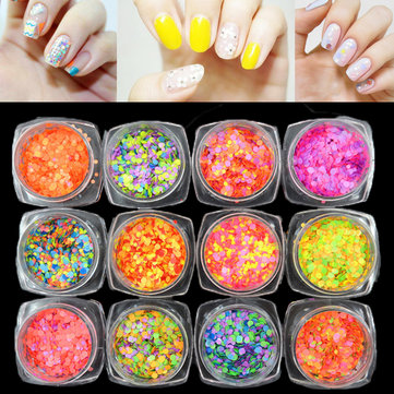 12Pcs/Set 1mm Mixed Colorized Nail Art Glitter Sequins Candy Color Round DIY Decoration
