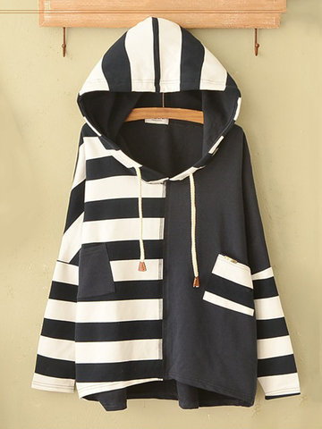 Casual Striped Stitching Long Sleeve Hoodies For Women