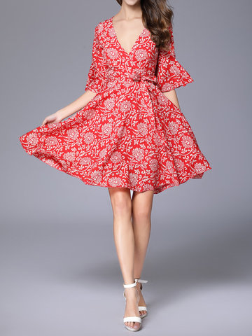 Chiffon Floral Print Half Horn Sleeve V-neck Dress For Women
