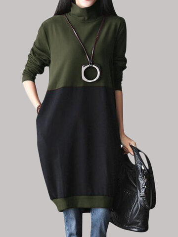 O-NEWE Turtleneck Two Colors Stitching Dress