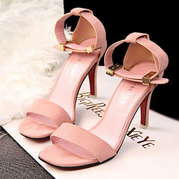 Suede Pure Color Buckle Peep Toe Office Lady High Heel Pumps