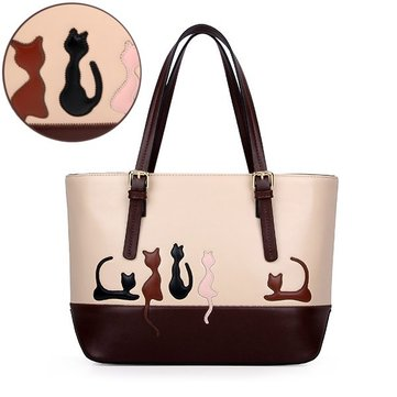 Cute Cat Rabbit Animal Print Sweet Women Handbag Large Capacity Zipper Cat Handbags Shoulder Bag