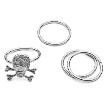 4Pcs Skull Knuckle Stacking Mid Finger