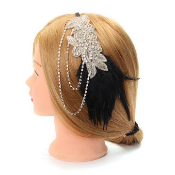 Bridal Vintage Black Feather Crystal Headpiece Party Headwear With Flapper Chain Headband