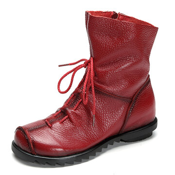 SOCOFY Big Size Pure Color Lace Up Ankle Leather Comfortable Zipper Boots