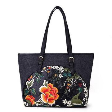 Национальный стиль Цветочный узор сумочку Холст Tote плеча сумки