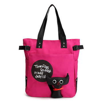 Women Casual Cartoon Cat Canvas Handbag Shoulder Bag