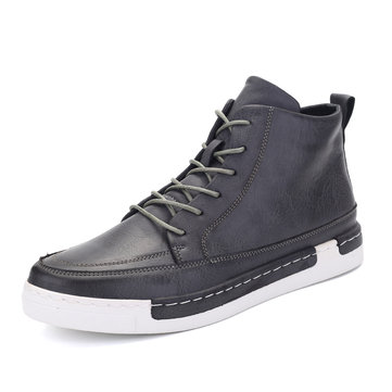 Men British Style Lace Up Skateboarding Shoes Casual Ankle Boots