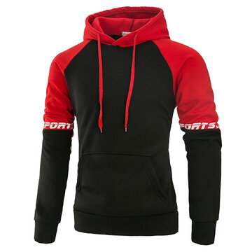 Mens Sport Hoodies Hit Color Front Big Pocket Casual Cotton Hooded Tops
